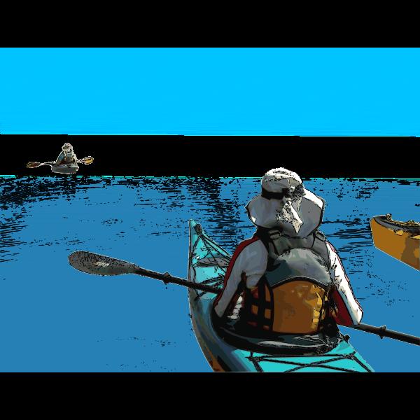 Kayakers venturing vector graphics
