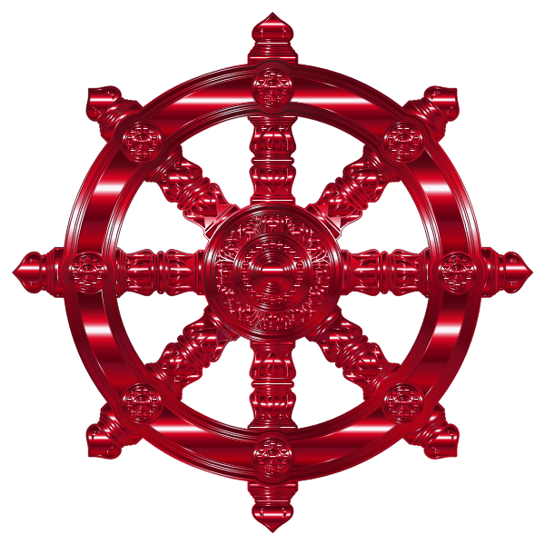 Vermillion Ornate Dharma Wheel