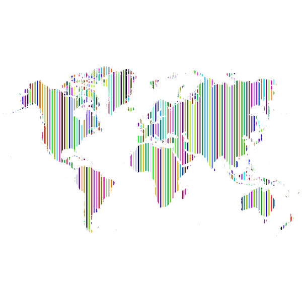 Vertical World Map Slices Prismatic