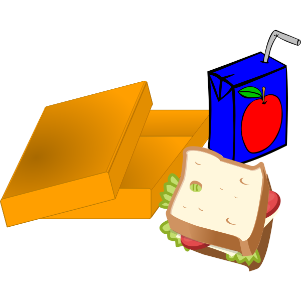 Vector image of orange lunch box with sandwich and juice