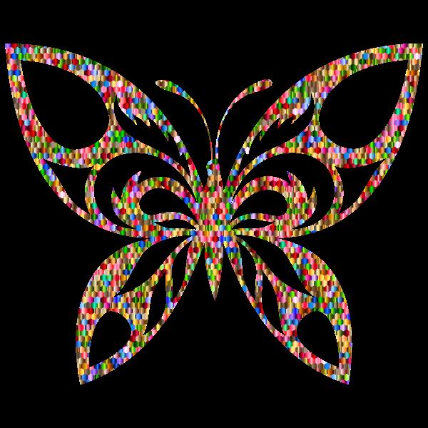 Vibrant Chromatic Hexagonal Tribal Butterfly Silhouette