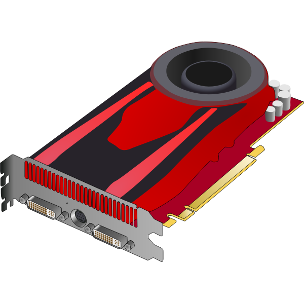 Red 3D video card vector drawing