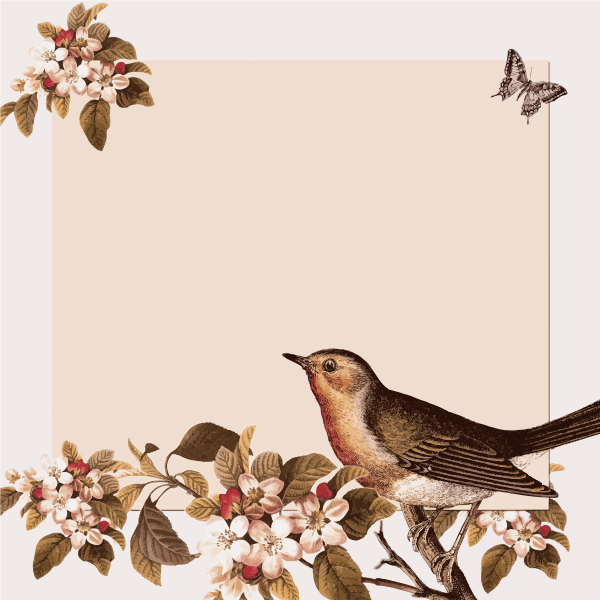 Clip art of autumn decoration with flowers and a small bird