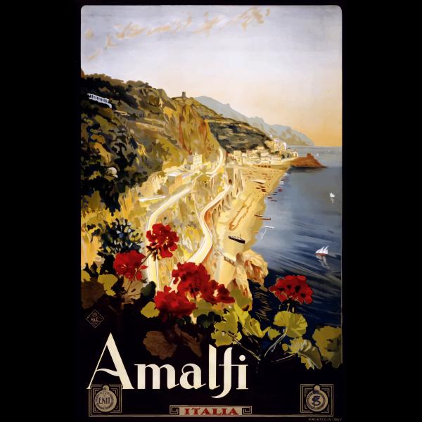 Vintage travel poster Amalfi vector illustration