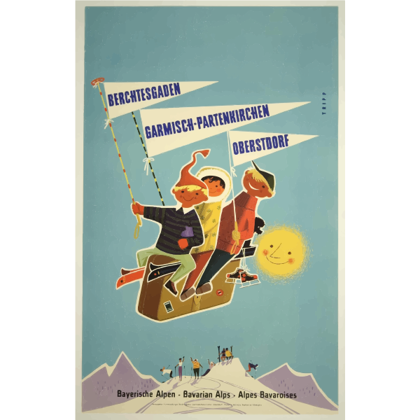 Bavarian Alps vintage travel image