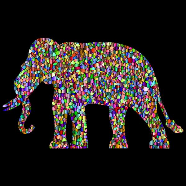 Vivid Chromatic Elephant Silhouette