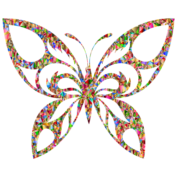 Vivid Chromatic Low Poly Tribal Butterfly Silhouette