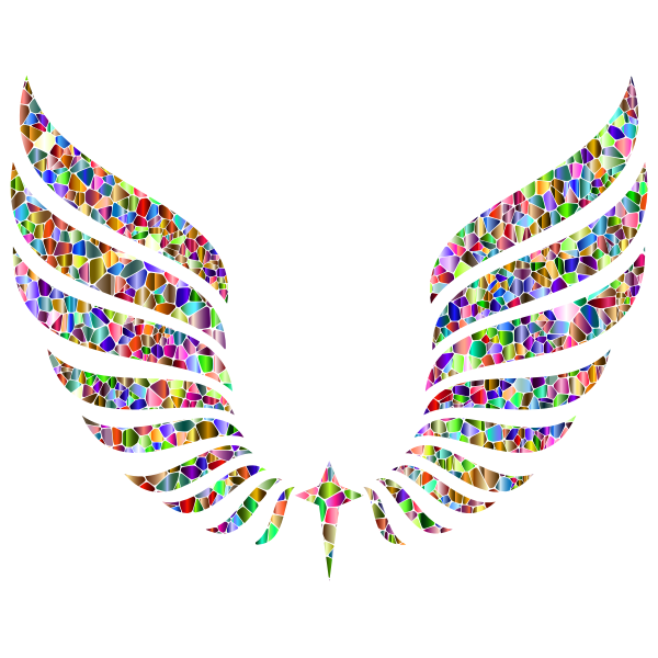 Vivid Chromatic Tiled Abstract Wings
