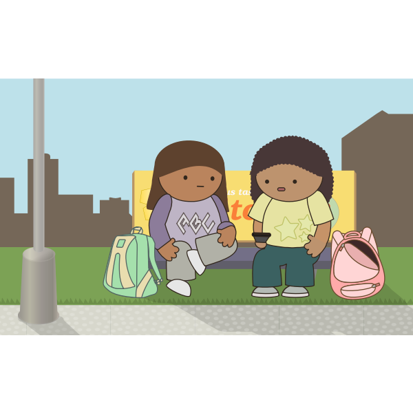 School kids waiting for the bus