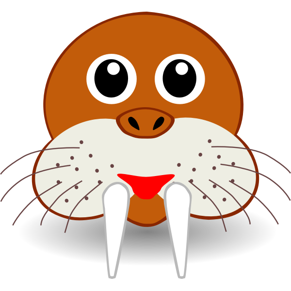 Funny walrus head vector drawing