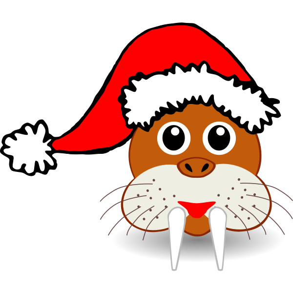 Walrus face with Santa Claus hat vector