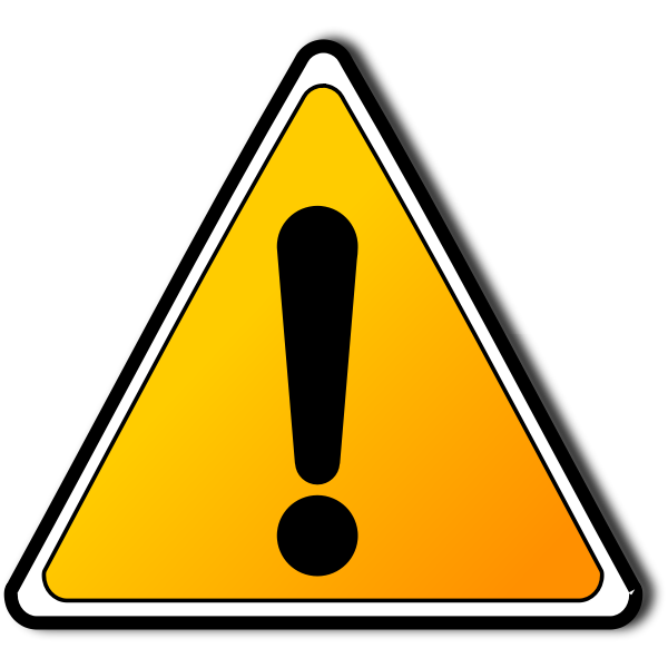 Triangle warning sign with an exclamation mark vector drawing
