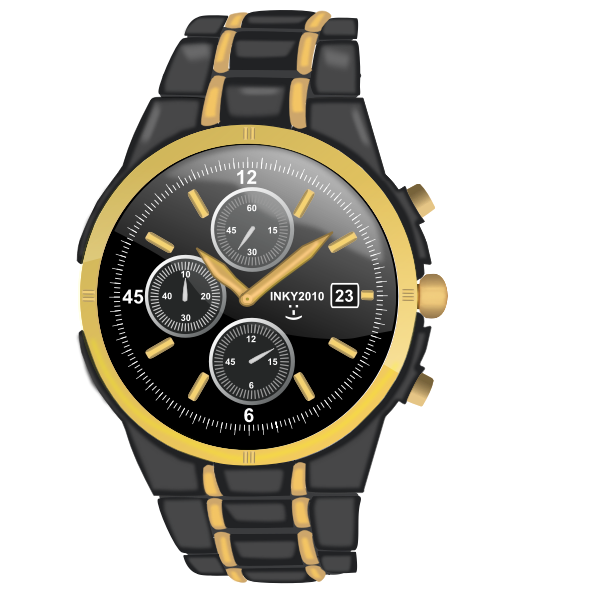 Vector illustration of arm watch with chronograph