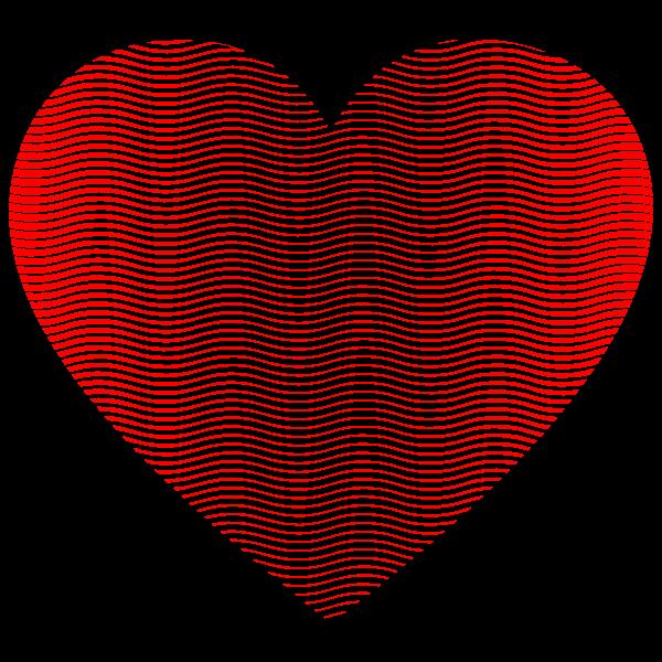Heart Wavy Line Art Pattern