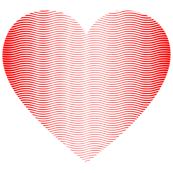 Heart Wavy Line Art Pattern