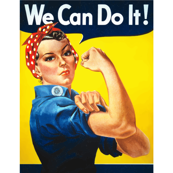 Vintage poster with Rosie The Riveter