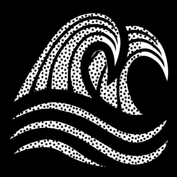 Illustration of seawaves line art