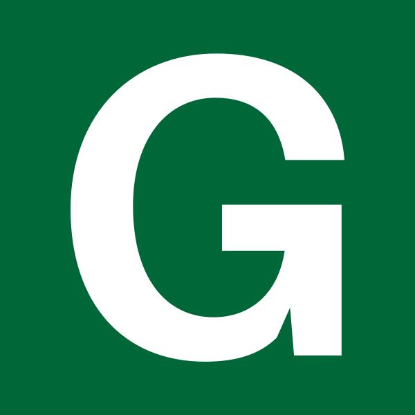 White Letter G on Green Background