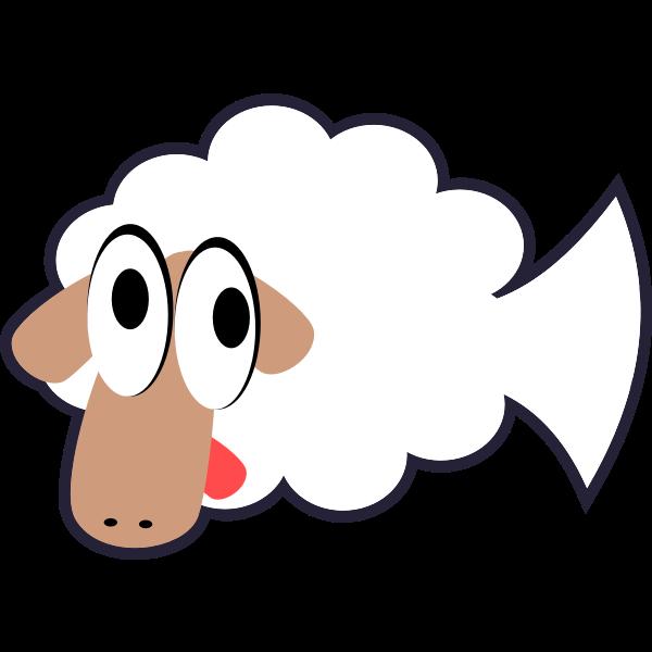 White Stupid Cute Cartoon Fish Sheep
