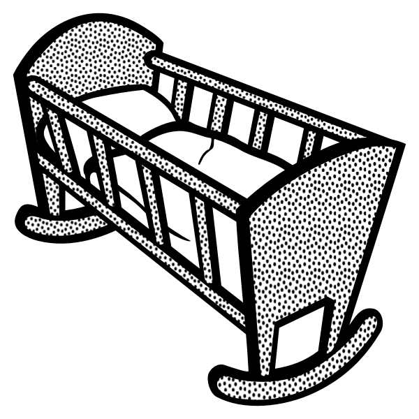 Illustration of spotty baby cot