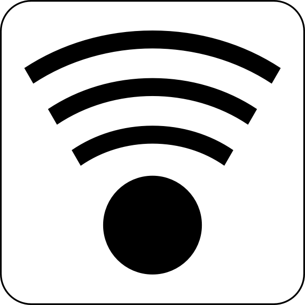 Vector illustration of black and white wireless icon