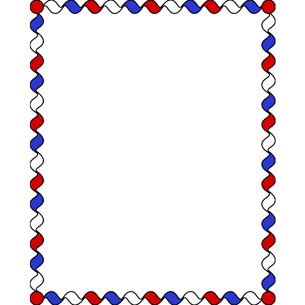 Wiggly Frame Red White Blue color
