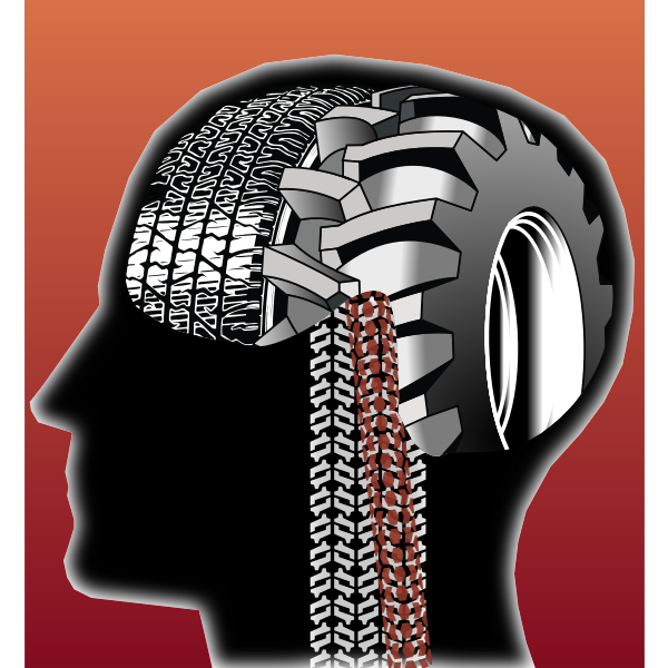 Color vector image of male thinking head.