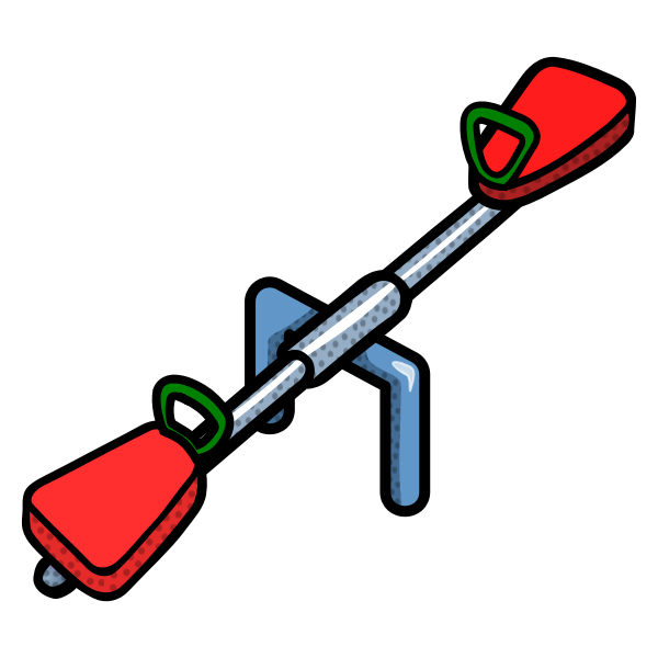 Vector image of coloured line art seesaw