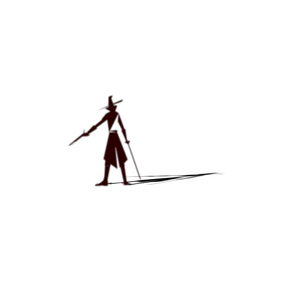 Witch hunter silhouette with shadow vector clip art