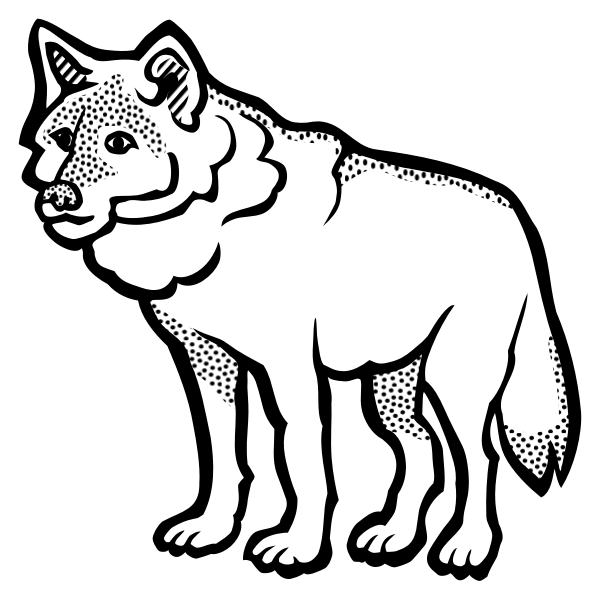 Thick outline wolf illustration