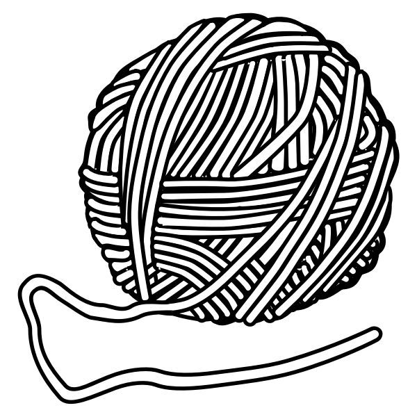 Drawing of wool bundle in black and white