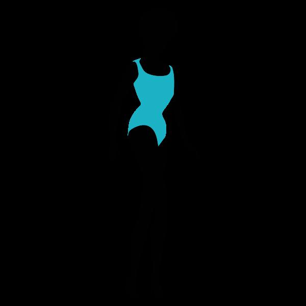 Woman in bikini silhouette