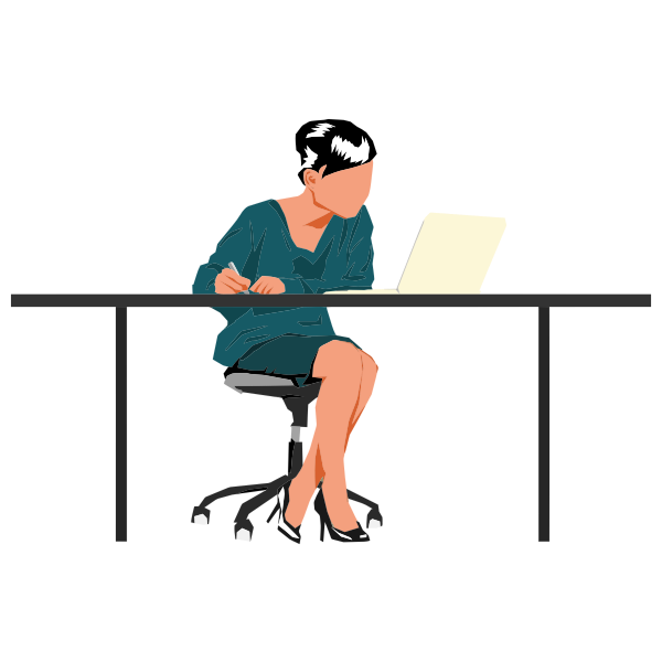 Woman sitting at desk | Free SVG