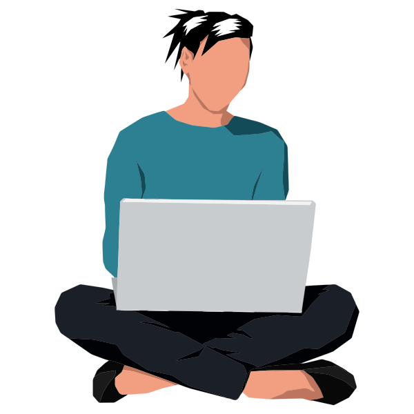 Woman Sitting Down With Laptop
