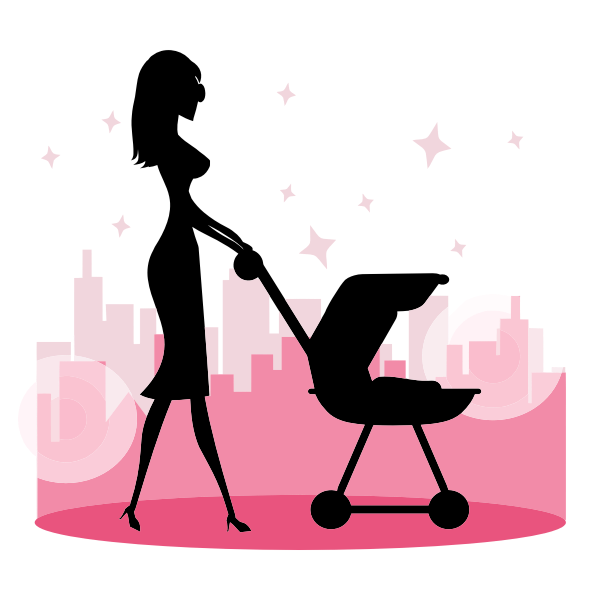 Woman With Baby Carriage Silhouette