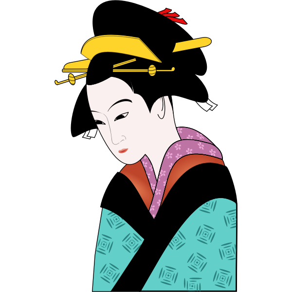 Japanese woman in blue kimono vector image
