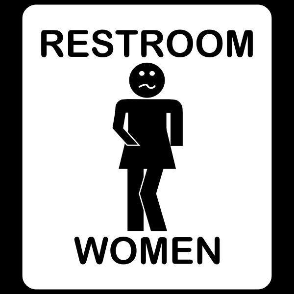 Humorous ladies bathroom sign vector drawing
