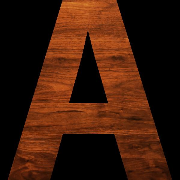 Wood texture alphabet A