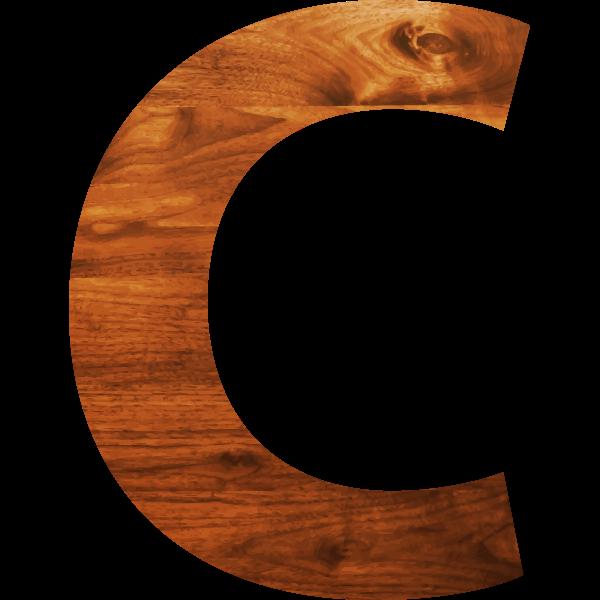 Wood texture alphabet C