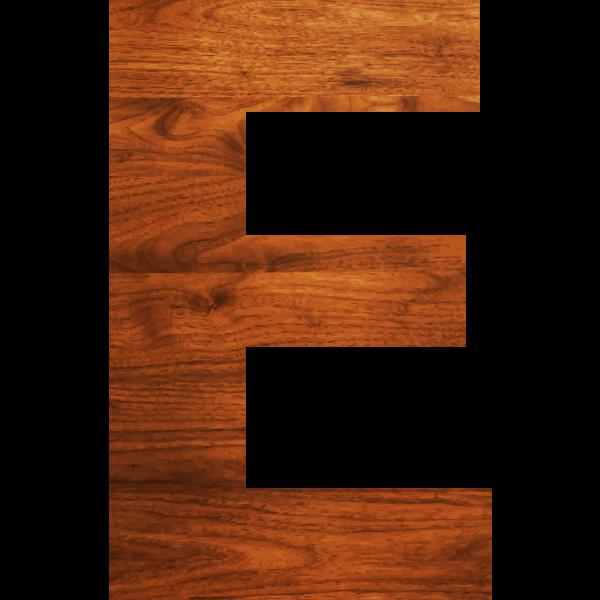 Wood texture alphabet E