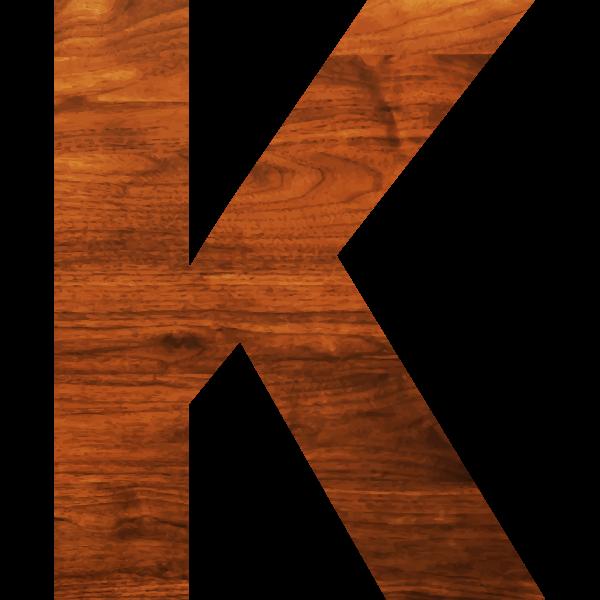 Wood texture alphabet K