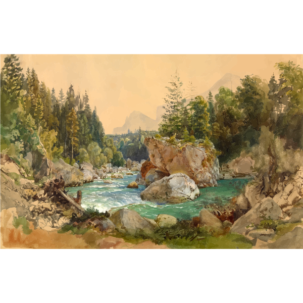 Wooded River Landscape in the Alps Thomas Ender