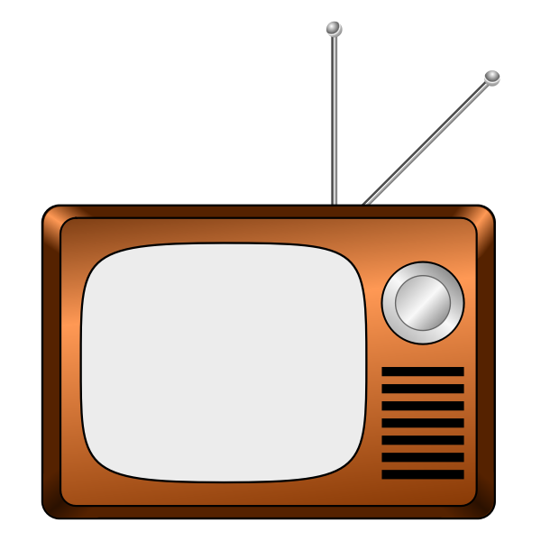 Vector drawing of wooden TV set
