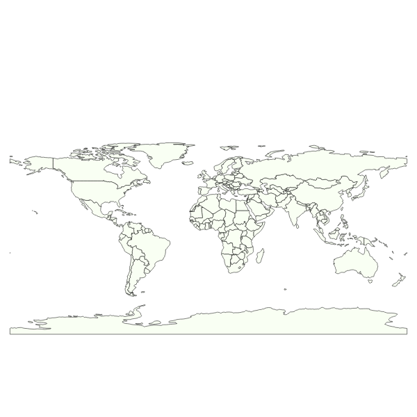 One-color simple world map