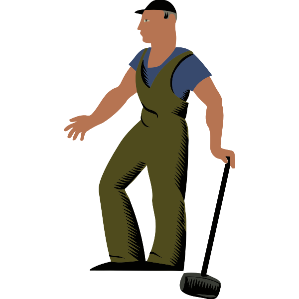 Worker with a big hammer