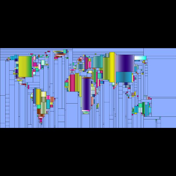 World Map Mondrian Mosaic 2