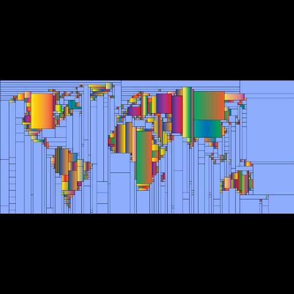 World Map Mondrian Mosaic 4