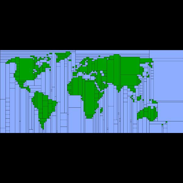 World Map Mondrian Mosaic