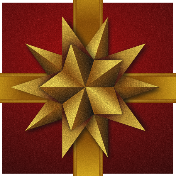 Christmas gift box with decorative golden stars vector drawing