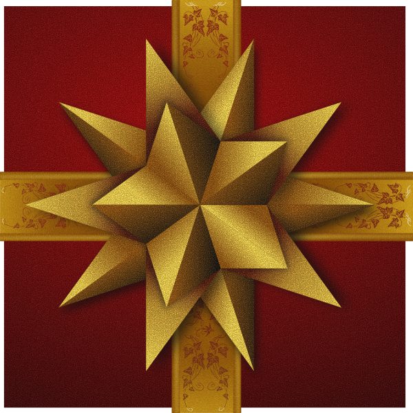 Christmas gift box with double decorative golden  star vector image
